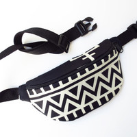 Black and Off White African Print Fanny Pack