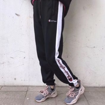 Champion spring-summer men's legs reverse embroidery LOGO foot pants F0231-1 black