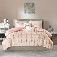 Karley Pink Gold Metallic Dot 5PC Comforter Set