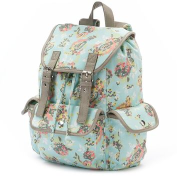 Candie's Anna Floral Cargo Backpack (Blue)