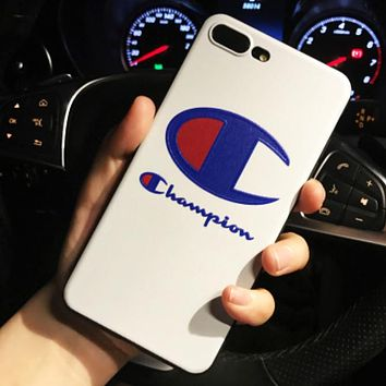 Champion New fashion letter print couple protective cover phone case White