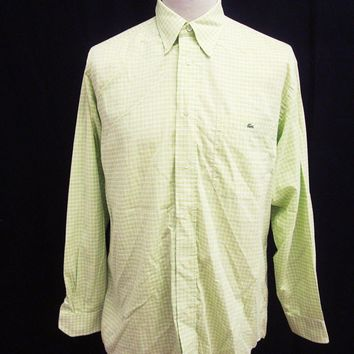 Retro Green White Gingham Check LACOSTE Long Sleeved Button Down Collar Shirt L
