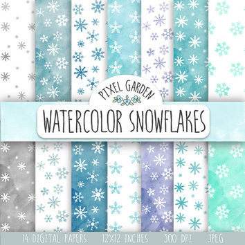 Watercolor Snowflakes Digital Paper. Winter Scrapbooking Paper. Snowflakes Digital Patterns. Hand Painted Watercolor Christmas Background.