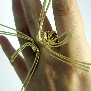Big X ring , handmade nugold brass wire ring , statement jewelry , art ring  ooak jewlry  big ring adjustable ring , chunky ring