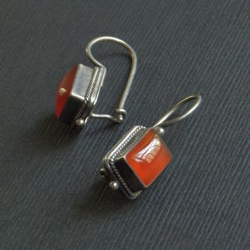 Vintage STERLING Carnelian EARRINGS Etruscan Boho Tibetan Design Handmade Forged Leverback Earwires, Womens GEMSTONE Jewelry c.1970's