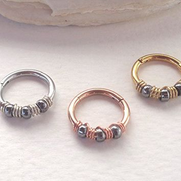 Hinged Segment Ring Silver,Gold,Rose Gold Wrapped Black Beads - 14g (1.6mm) - Diameter 8mm,10mm