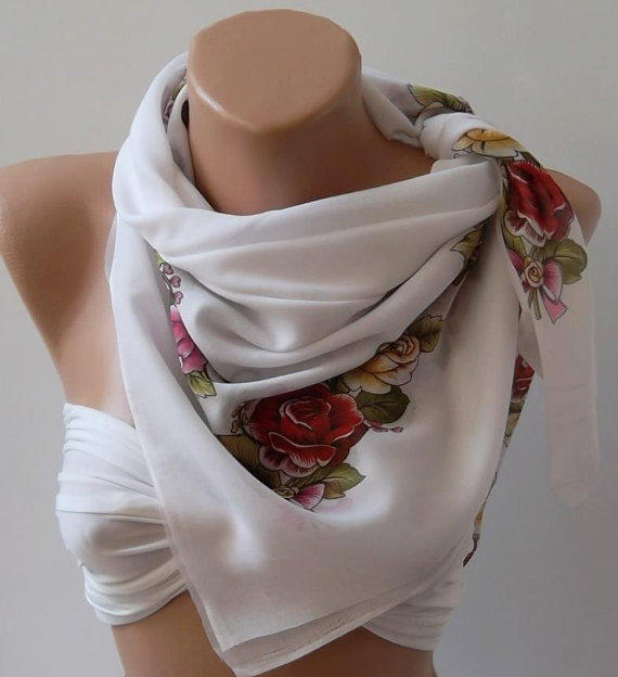 ON SALE/Shawl - Cotton Scarf - Headband - Necklace Shawl