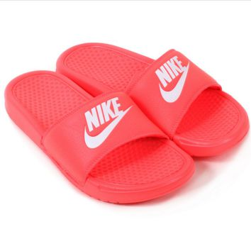 NIKE Casual Fashion Solid Color Flats Slipper Sandals Shoes Contrast Style Red