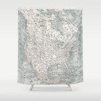 Map Shower Curtain - North America - Home Decor - Bathroom - learning and  travel, wanderlust , places, United States, Canada maps