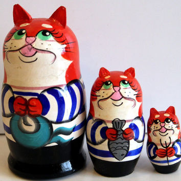 Seaman small cat traditional Russian toy nesting doll painted curved made by hand decorative collectible holiday birthday Easter gift linden