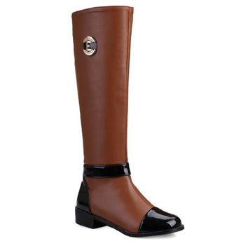 Brown and Black Mid Calf Patent Leather Boots