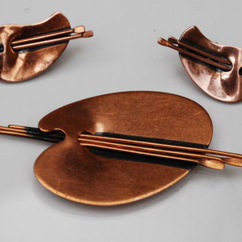 Copper  Renoir Painting Palette Brooch and  Earrings
