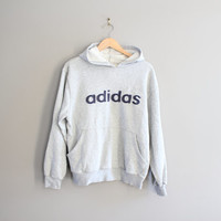 Free Shipping Adidas hoodie Big Logo Sweatshirt Grey Fleece Adidas Pullover Baggy Slouchy Sweater Vintage Minimalist 90s Sweater Size M