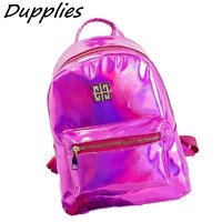 Dupplies Hologram Backpack Women School Small Backpacks Shoulder Bags Women's Laser Silver Color Back pack Mini Holographic Bags