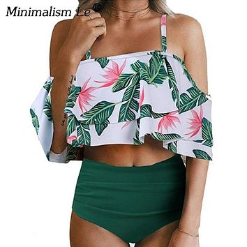 Minimalism Le Sexy High Waist Swimsuit Print Swimwear 2019 Halter Bikini Set Ruffle Shoulder Bathing Suit Women Solid Bikini Xxl