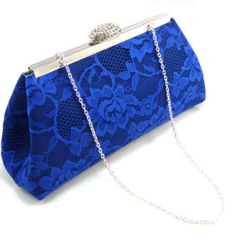 Navy Blue, Royal Blue Lace and Steel Grey Evening Clutch