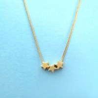 Wishes, Tiny, Triple, Stars, Gold, Necklace