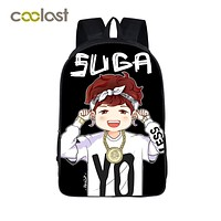 Korean KPOP BTS EXO GOT7 Band Backpack Boys Girls School Bags Suga Women Laptop Backpack for Teenagers Rock Nirvana Hip Hop Bags
