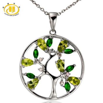 Hutang Tree of Life Natural Peridot Pendant 925 Sterling Silver Diopside Topaz Gemstone Necklace Fine Jewelry