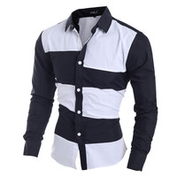 Color Blocked Slim Fit Dress Shirt