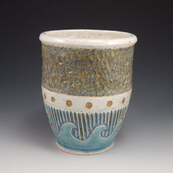 nautical ceramic cup, tumbler, wheel thrown, teal, white, hand carved