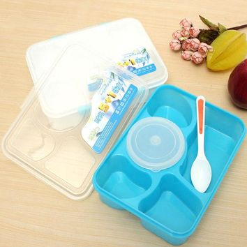 DCCKL72 Portable Microwave Bento Lunch Box 5+1 Food Container Storage Box with 1 Spoon