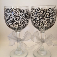 Black swirls hand painted wine glasses- large with grey organza bow- Great for weddings
