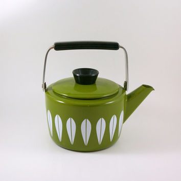 Cathrineholm of Norway Olive Green Lotus Tea Kettle by Greta Prytz Kittelsen