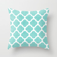 teal clover Throw Pillow by her art