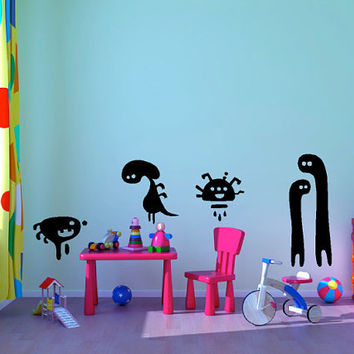 "6 Piece Funny Monster Set kids room vinyl wall decal graphic sheet set 22""x28"" Home Decor"