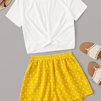 Twist Front Tee With Polka Dot Shorts