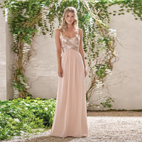 2017 Rose Gold Bridesmaid Dresses A Line Spaghetti Straps Backless Sequins Chiffon Wedding Party Dress Maid of Honor BN105