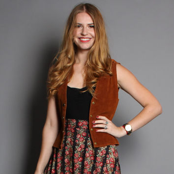 60s SUEDE Leather VEST / Fitted Brown Hippie Top, s