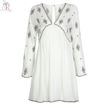 White Embroidery Floral Long Bell Sleeve Mini Shift Boho Dress Keyhole Back Loose Casual Sexy Deep V Neck Streetwear Women