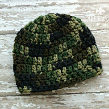 Babies Camo Beanie - Camouflage Hospital Cap - Baby Shower Gifts - Newborn - Coming Home - Hunting - Crochet - Knitted
