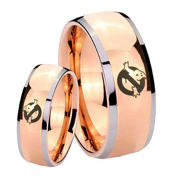 His Hers Rose Gold Dome Ghostbusters Two Tone Tungsten Wedding Rings Set