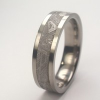 Mens Titanium Ring - 4 mm wide Meteorite Inlay - offered in Stainless Steel as well