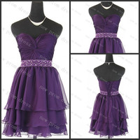 Sweetheart purple chiffon with crystal beads sashes lace up back homecoming dress ,cocktail dress