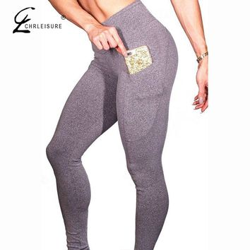 High Waist Workout Leggings Solid Color Push Up Pocket Leggings