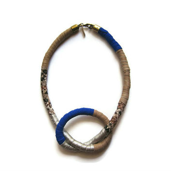 Leather Jewelry Neo Tribal Knot Necklace in Blue - Boho Chic Style