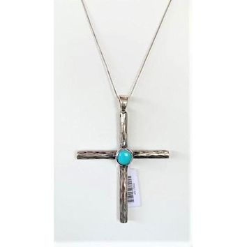 Clint Orms Jewelry~ Sterling Silver Cross Pendent w/Turquoise Stone