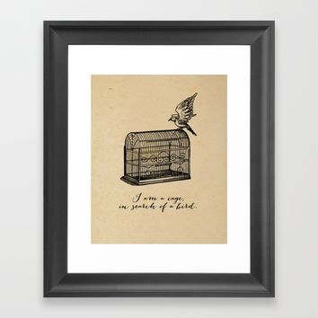 Franz Kafka - I am a Cage in Search of a Bird Framed Art Print by 5pennystudio