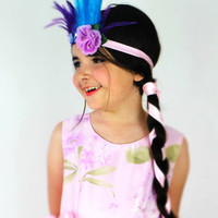 Purple and Turquise Blue Feather Flower Crown Headband Headdress