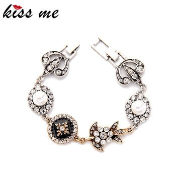 KISS ME Brand Geometric Enamel Crystal Simulated Pearls Bracelets for Women New Vintage Jewelry Accessories