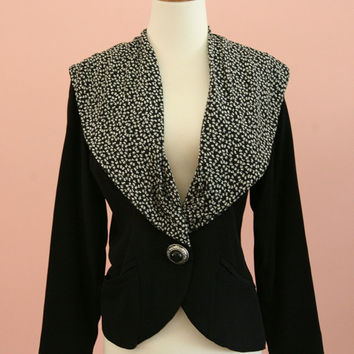 Black and White Wide Shawl Collar Blazer Size 10P