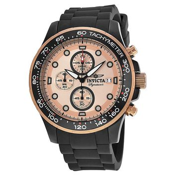 Invicta Signature II Rose Gold-tone and Black Stainless Steel Mens Watch 7374