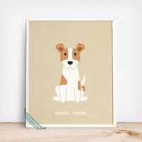 Russell Terrier Print, Russell Terrier Poster, Dog Print, Dog Breed, Jack Russell Terrier, Dog Decor, Home Decor, Fathers Day Gift