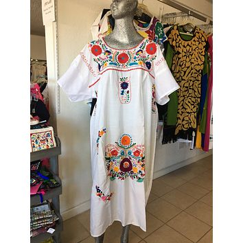 Mexican Handmade Traditional Dress White/Plus Size