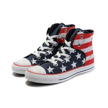 American Flag Print High Cut Lace-up Flats - Oasap High Street Fashion