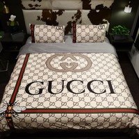 GUCCI Bedroom Microfiber Duvet Cover Sets, Printing Duvet Cover Set 3pcs Bed Sets